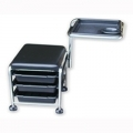 Pedi Stool with Manicure Rest &  Drawers(Black)